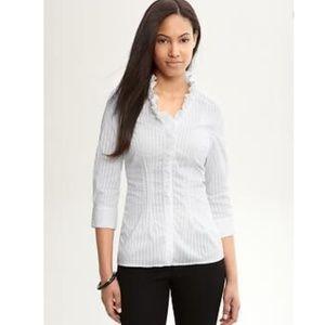 BANANA REPUBLIC Shadow Stripe Ruffle-Neck Shirt